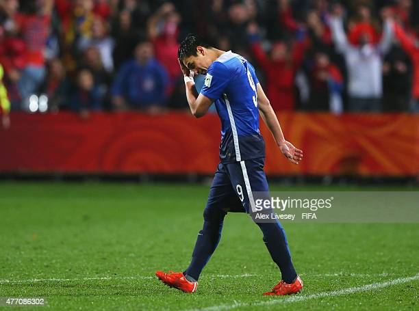 Rubio Rubin of USA reacts after missing his penalty during the penalty shoot out in the FIFA U20 World Cup Quarter Final match between USA and Serbia...