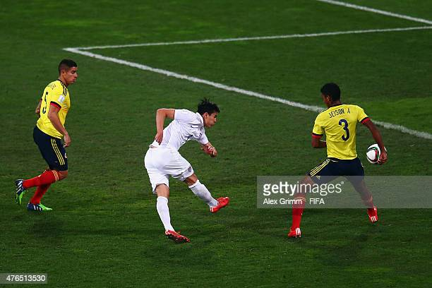 Rubio Rubin of USA scores his team's first goal during the FIFA U20 World Cup New Zealand 2015 Round of 16 match between USA and Colombia at...
