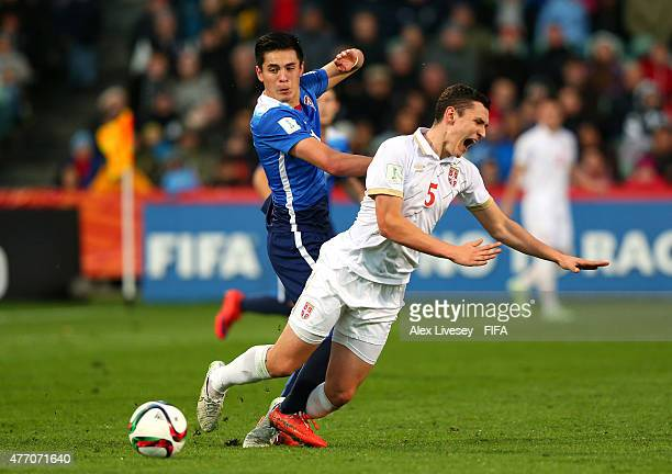 Rubio Rubin of USA tackles Milos Veljkovic of Serbia during the FIFA U20 World Cup Quarter Final match between USA and Serbia at the North Harbour...