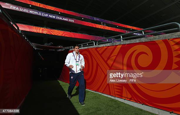 Rubio Rubin of USA walks out to inspect the pitch prior to the FIFA U20 World Cup Quarter Final match between USA and Serbia at the North Harbour...