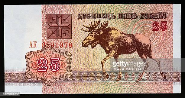 25 rubles banknote obverse elk Belarus 20th century