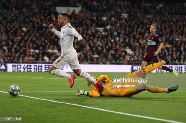 Rubén Blanco of Celta Vigo brings down Eden Hazard of Real Madrid resulting in a penalty during the La Liga match between Real Madrid CF and RC Celta...