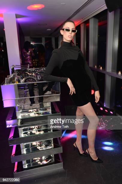 Ruby Aldridge DJs at the Alain Mikli x Alexandre Vauthier Launch Party on April 5 2018 in New York City
