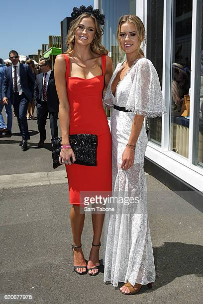 Ruby and Lucy Brownless arrive at Oaks Day at Flemington Racecourse on November 3 2016 in Melbourne Australia