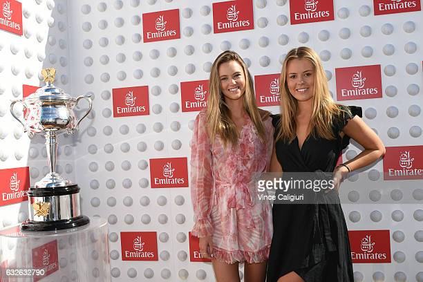 Ruby and Lucy Brownless pose at The annual Emirates Ladies Brunch during day ten of the 2017 Australian Open at Melbourne Park on January 25 2017 in...