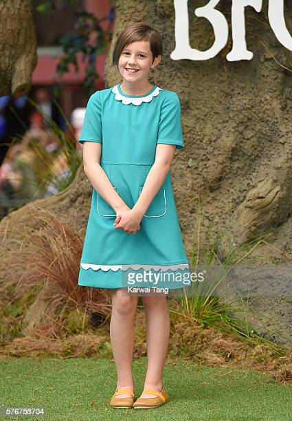 """Ruby Barnhill arrives for the UK film premiere of """"The BFG' at Odeon Leicester Square on July 17, 2016 in London, England."""