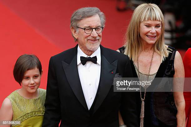 "Ruby Barnhill, Director Steven Spielberg and Kate Capshaw attend ""The BFG "" premiere during the 69th annual Cannes Film Festival at the Palais des..."