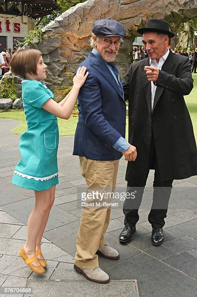 "Ruby Barnhill, director Steven Spielberg and Mark Rylance attend the UK Premiere of ""The BFG"" at Odeon Leicester Square on July 17, 2016 in London,..."