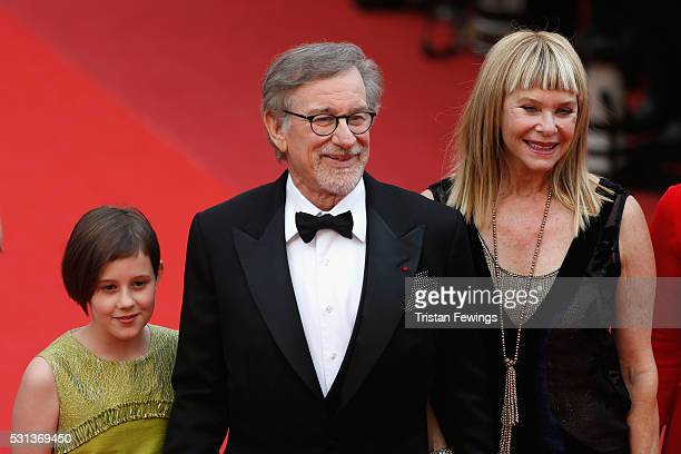 "Ruby Barnhill, Steven Spielberg and Kate Capshaw attend ""The BFG "" premiere during the 69th annual Cannes Film Festival at the Palais des Festivals..."