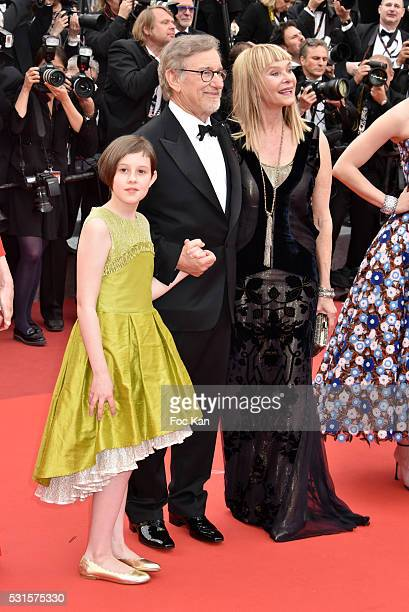 Ruby Barnhill, Steven Spielberg and Kate Capshaw attend 'The BFG ' premiere during the 69th annual Cannes Film Festival at the Palais des Festivals...
