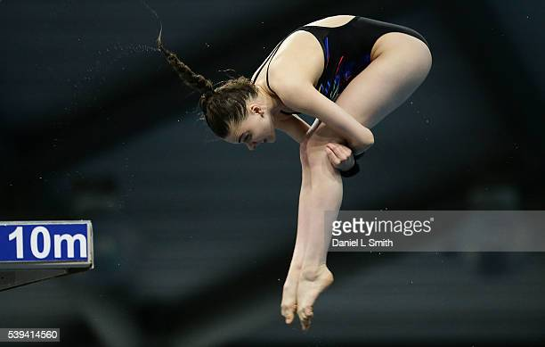Ruby Bower competes in the Women's 10m Final during day two of the British Diving Championships 2016 at Ponds Forge on June 11 2016 in Sheffield...