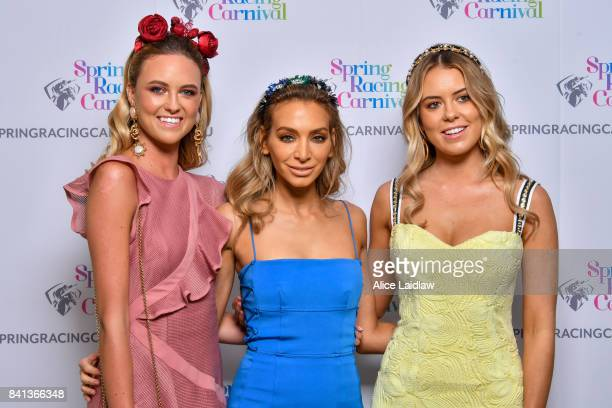 Ruby Bronwless Nadia Bartel and Lucy Brownless at the Spring Racing Carnival Launch at Greenfields on September 01 2017 in Albert Park Australia