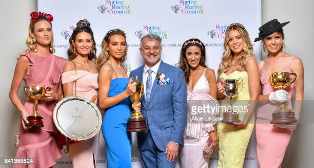Ruby Brownless, Kylie Brown, Nadia Bartel, Dom Bagnato, Lana Wilkinson, Lucy Brownless and Georgia Connelly at the Spring Racing Carnival Launch at...