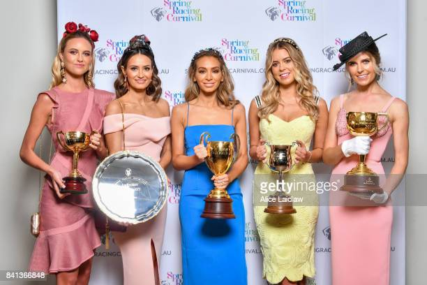 Ruby Brownless Kylie Brown Nadia Bartel Lucy Brownless and Georgia Connelly at the Spring Racing Carnival Launch at Greenfields on September 01 2017...
