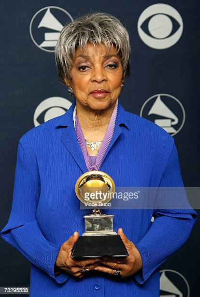 Ruby Dee poses in the press room with the Grammy for Best Spoken Word Album 'In This Life Together' by Ruby Dee and her late husband Ossie Davis at...