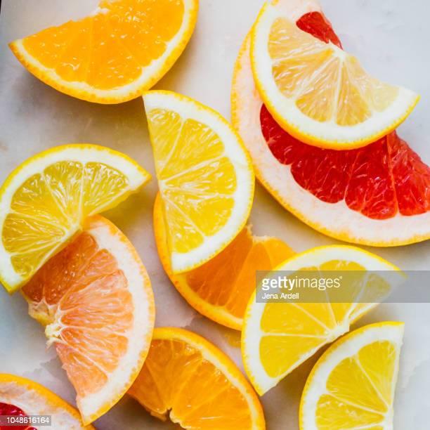ruby grapefruit, oranges, lemons, pink grapefruit, citrus fruit, citrus fruits, healthy diet, vitamin c - sangria stock pictures, royalty-free photos & images