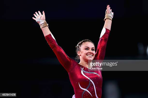 Ruby Harold of England reacts at the end of her performance during the Women's AllAround Final at the SECC Precinct during day seven of the Glasgow...