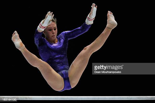 Ruby Harrold of Great Britain competes in the Uneven Bars Final on Day Six of the Artistic Gymnastics World Championships Belgium 2013 held at the...