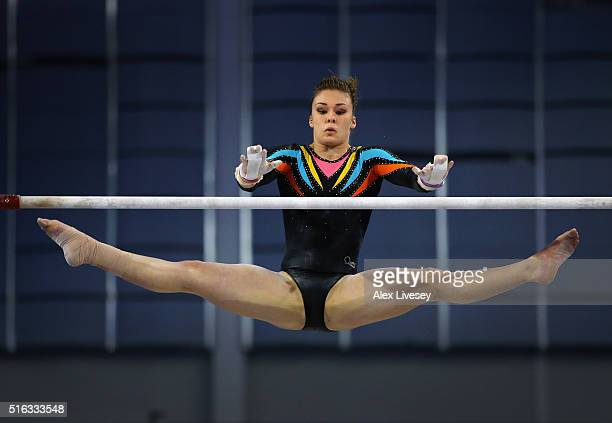 Ruby Harrold of the British Gymnastics Team performs on the Uneven Bars during Women's National Senior Team Championships at the Emirates Arena on...