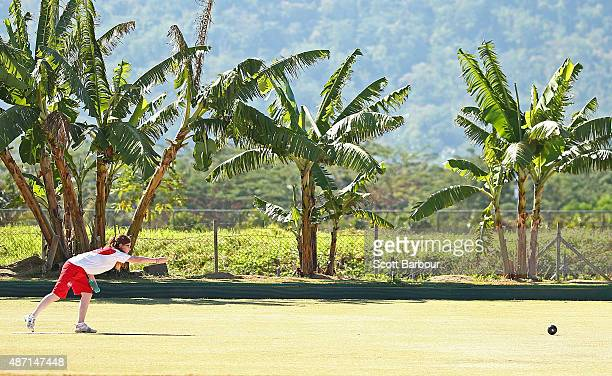 Ruby Hill of England bowls during the Lawn Bowls at the Tuanaimato Sports Facility on day one of the Samoa 2015 Commonwealth Youth Games on September...