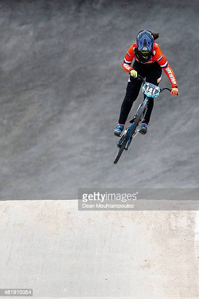 Ruby Huisman of the Netherlands in action on her way to winning silver in the Junior Womens Time Trial Race during day 4 of the UCI BMX World...