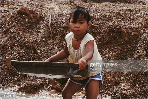 Ruby hunter in Pailin region in Cambodia