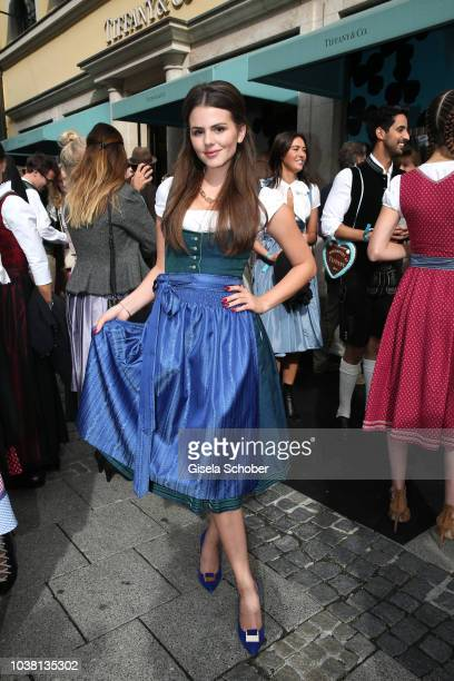 Ruby O Fee wearing a Dirndl by Amsel Fashion during the 'Fruehstueck bei Tiffany' at Tiffany Store ahead of the Oktoberfest on September 22 2018 in...