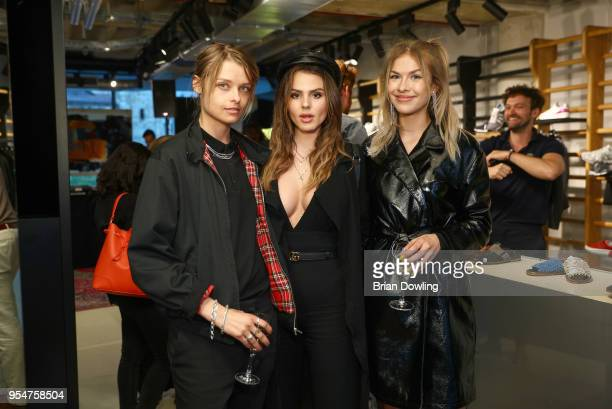 Ruby O. Fee, Zsa Zsa inci Buerkle, and Josephine Kinsey attend the Noah Becker X Premiata event at Bikini Berlin on May 4, 2018 in Berlin, Germany.
