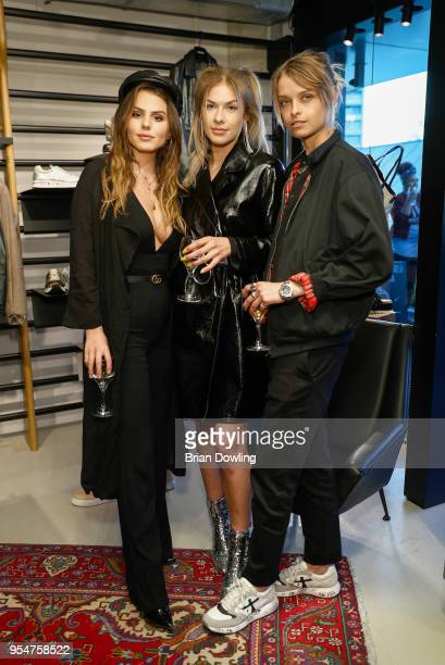 Ruby O. Fee, Zsa Zsa inci Buerkle and Josephine Kinsey attend the Noah Becker X Premiata event at Bikini Berlin on May 4, 2018 in Berlin, Germany.