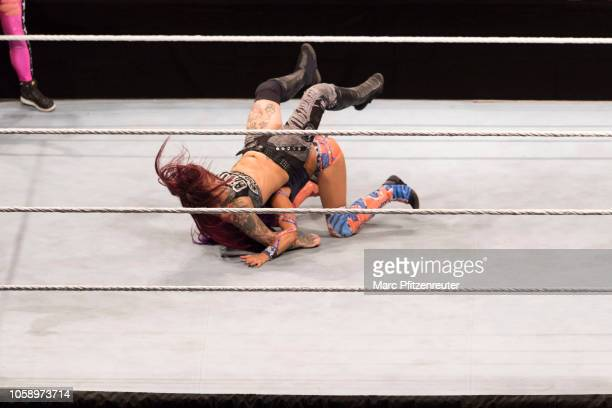 Ruby Riott competes in the ring against Sasha Banks during the WWE Live Show at Lanxess Arena on November 7 2018 in Cologne Germany