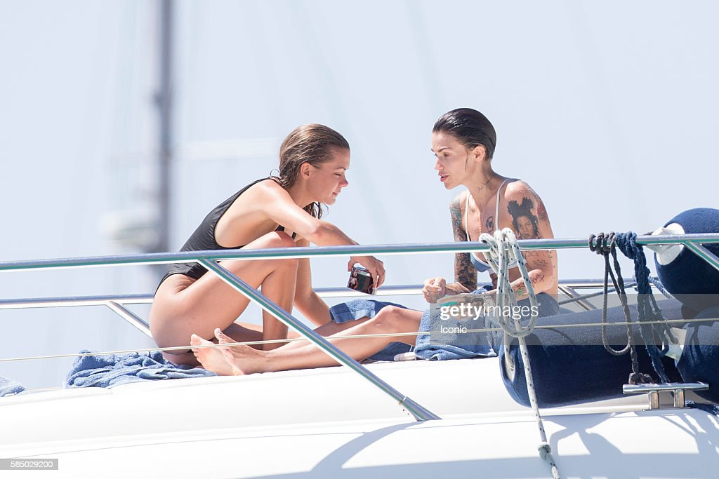Ruby Rose (R) and Harley Gusman enjoy a day on a yacht on August 1, 2016 in Ibiza, Spain.