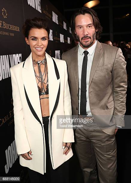 Ruby Rose and Keanu Reeves attend the Premiere Of Summit Entertainment's John Wick Chapter Two at ArcLight Hollywood on January 30 2017 in Hollywood...
