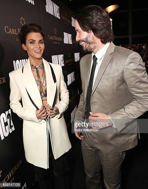 Ruby Rose and Keanu Reeves attend the Premiere Of Summit Entertainment's 'John Wick Chapter Two at ArcLight Hollywood on January 30 2017 in Hollywood...