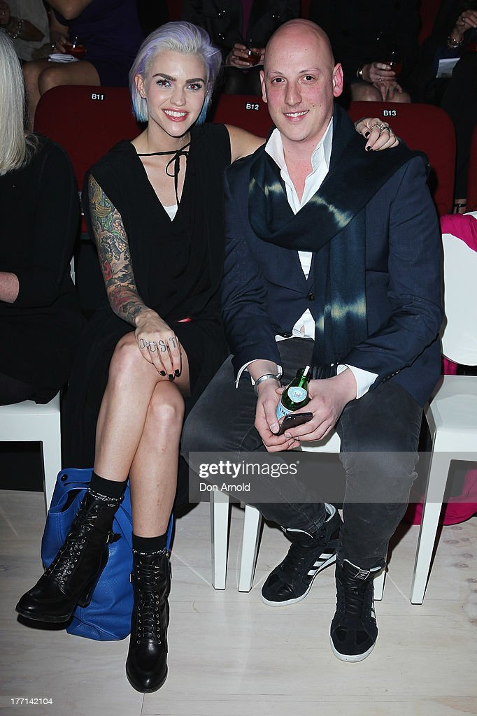 Ruby Rose and Michael Lo Sordo watch the MBFWA Trends show during Mercedes-Benz Fashion Festival Sydney 2013 at Sydney Town Hall on August 21, 2013 in Sydney, Australia.
