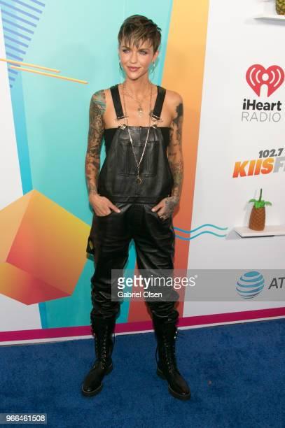 Ruby Rose arrives for iHeartRadio's KIIS FM Wango Tango By ATT at Banc of California Stadium on June 2 2018 in Los Angeles California