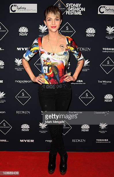 Ruby Rose arrives for the Myer Miss Shop group show as part of Rosemount Sydney Fashion Festival 2010 at Sydney Town Hall on August 28 2010 in Sydney...