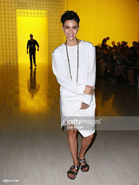 Ruby Rose arrives for the Suboo show at MercedesBenz Fashion Week Australia 2014 at on April 9 2014 in Sydney Australia