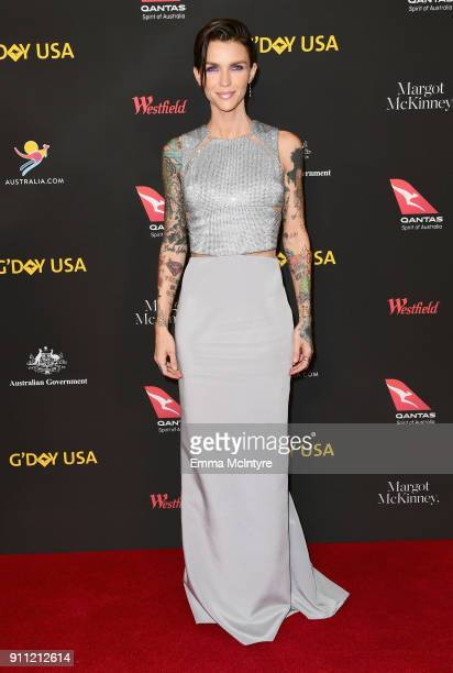 Ruby Rose attends 2018 G'Day USA Los Angeles Black Tie Gala at InterContinental Los Angeles Downtown on January 27 2018 in Los Angeles California