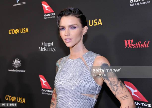 Ruby Rose attends the 2018 G'Day USA Black Tie Gala at InterContinental Los Angeles Downtown on January 27 2018 in Los Angeles California