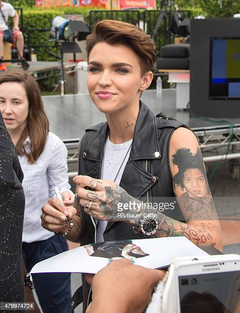 Ruby Rose is seen at a taking of 'Extra' on July 08 2015 in Los Angeles California