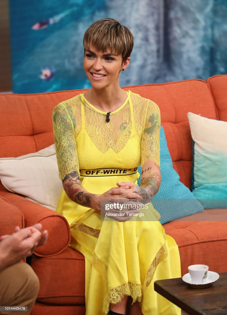 Ruby Rose is seen on the set of 'Despierta America' at Univision Studios to promote the film 'The MEG' on August 10, 2018 in Miami, Florida.
