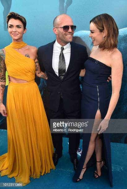 Ruby Rose Jason Statham and Jessica McNamee attend the premiere of Warner Bros Pictures And Gravity Pictures' The Meg at TCL Chinese Theatre IMAX on...