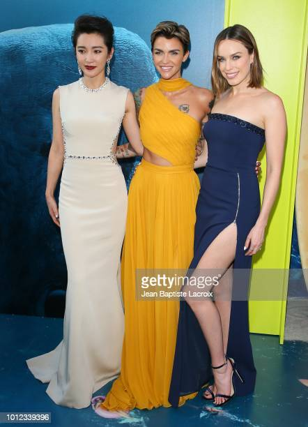 Ruby Rose Li BIngbing and Jessica McNamee attend the premiere of Warner Bros Pictures and Gravity Pictures' Premiere of The Meg on August 06 2018 in...