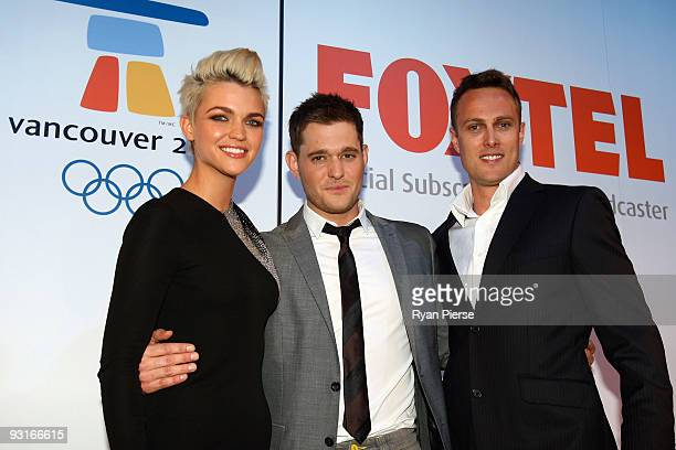 Ruby Rose Michael Buble and Matt Shirvington attend the announcement of Buble's status as Foxtel's official Winter Olympics ambassador at Museum of...