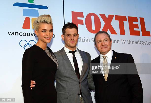 Ruby Rose Michael Buble and Steve Liebmann attend the announcement of Buble's status as Foxtel's official Winter Olympics ambassador at Museum of...