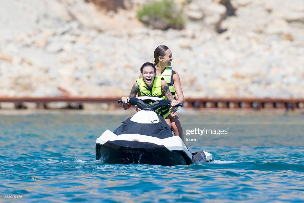 Ruby Rose rides a jet ski on August 1, 2016 in Ibiza, Spain.