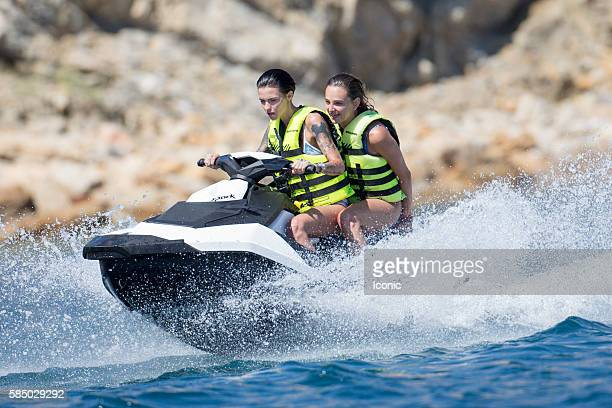 Ruby Rose rides a jet ski on August 1 2016 in Ibiza Spain