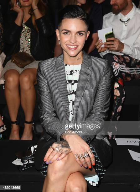 Ruby Rose sits front row during the Carla Zampatti show during MercedesBenz Fashion Week Australia 2014 at Carriageworks on April 6 2014 in Sydney...