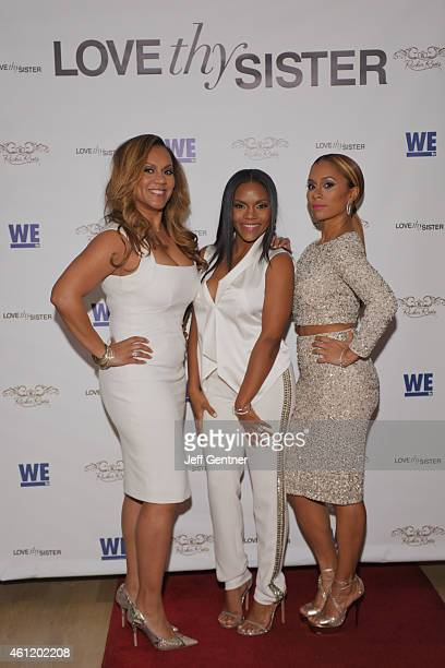 Ruby Rucker Ellen Rucker Carter and Ione Rucker of the reality show Love Thy Sister on WE tv pose for a photo during the premiere party at Bar One on...