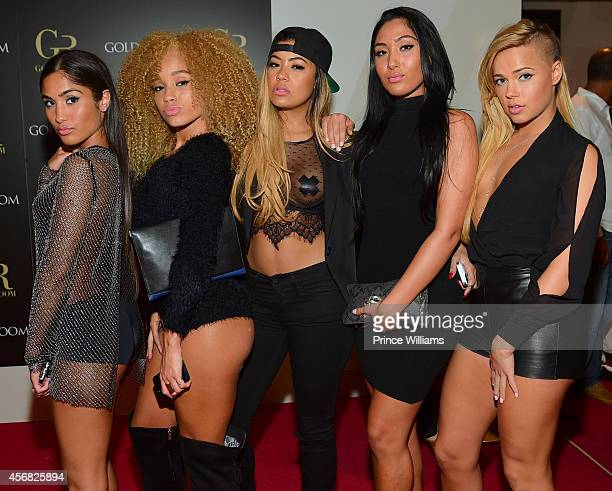 Ruby Sayed AB Kinky leena Sayed and Ashley Martelle of the group Taz's Angels attend the Gold Room on October 6 2014 in Atlanta Georgia
